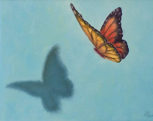 Description: Monarch Butterfly about to land on the canvas No Airbrushing