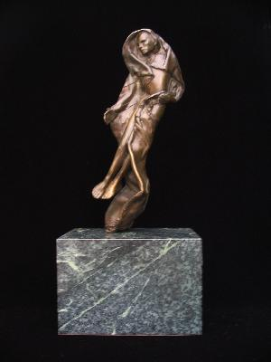 Figure draped and rising. Mounted on marble. One-of-a-kind, direct wax casting by artist.